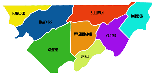 Map of Northeast Tennessee